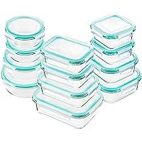 Bayco 玻璃食品保鮮盒帶蓋,[24 件] 玻璃餐準備容器,密封玻璃便當盒,不含 BPA,經 FDA 批準且防漏 藍色 12Set-blue 8541995896