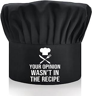 DYJYBMY Your Opinion Wasn't in The Recipe,成人可调节厨房烹饪帽,带弹性带厨师贝克帽黑色,有趣的烧烤厨师帽,适合男士,爸爸,丈夫,烧烤,男士礼物