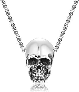 KAZELE 男士哥特式骷髅吊坠不锈钢机车朋克项链,带 60.96 厘米链子
