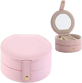 Kabinga 9 可爱圆形便携式珠宝盒耳环收纳盒防水 PU 皮革三层粉色,男女皆宜,9 升