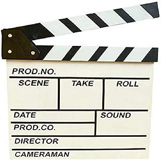 zmgmsmh 木制拍板导演电影剪切动作场景板夹板板板板岩(大号 - 白色)