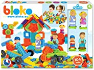 BLOKO - 503627 - 100 套,4 个 3D 家庭公仔 - 从 12 个月 - 欧洲制造 - 建筑玩具