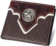 西部真皮花卉图案祈祷德克萨斯州星空男士短双折钱包 2 种颜色