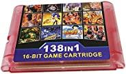 138 合 1 游戏盒 16 位游戏卡,适用于 Sega Mega Drive 创世纪控制台(粉色)