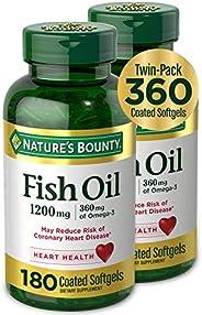 Nature's Bounty 自然之宝 1200毫克鱼油软胶囊,两瓶,每瓶180粒(共360粒)液