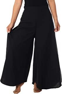 Lannaclothesdesign 女式棉质阔腿裤加大码嬉皮阔腿休闲裤