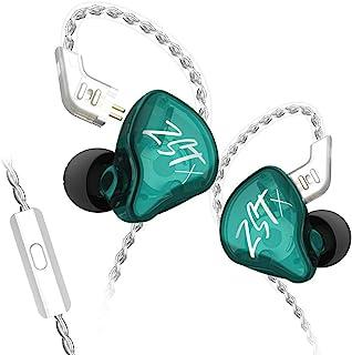 KZ ZST X 1BA+1DD 动态驱动入耳式耳机运动 DJ HiFi 耳机*可拆卸电缆降噪耳机(带麦克风,青色)
