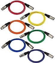 GLS Audio 91.44 厘米接插线 - XLR 公头至 XLR 母头色线 - 91.44 厘米平衡蛇线 - 6 包
