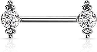 Dynamique 316L *钢无螺纹推入式乳头杠铃,每侧都有锆钻和球群(每对出售或单件)