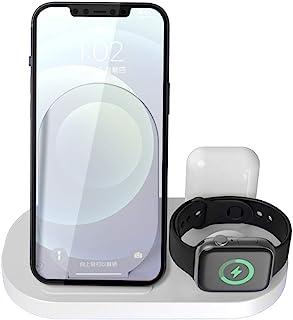 HUIPIN 3合1便携式无线充电器适用于 iPhone 11/11 Pro/11Pro Max/Xs/Xs Max/XR/X/8/8Plus,iWatch,Airpods 4/Pro Qi 认证(白色)