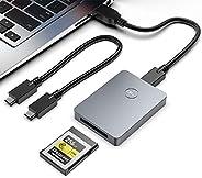 CFexpress 读卡器,Rocketek 便携式铝制 Type B CFexpress 读卡器支持 USB3.1 Gen2(10Gbps),Thunderbolt 3 端口连接 CFexpress 存储卡适配器,兼容