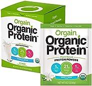 Orgain 植物蛋白粉 旅行装,香草豆 - 素食,低净碳水化合物,不含乳制品,无麸质,不含乳糖,不添加糖,不含大豆,犹太洁食,10包装