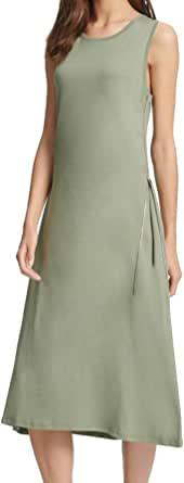 DKNY 女式拉链细节中长款衬衫裙