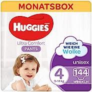 Huggies Ultra Comfort 裤子,尺码 4.9 至 14 千克,适合活跃的儿童,带湿指示器和云端袖口技术,144 个尿布,月盒
