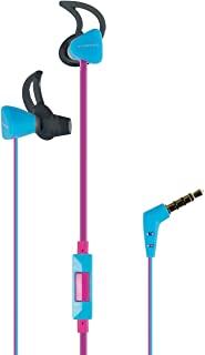 Vivanco SPX 60 入耳式运动耳机 带麦克风耳机 适用于智能手机手机 MP3 播放器 IXP4 防溅 带遥控器 3.5 毫米斜角插头 粉色 蓝色