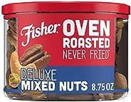 Fisher Snack 烘烤非油炸 豪華混合堅果,杏仁,腰果,山核桃和開心果,含海鹽, 8.75盎司(248g)