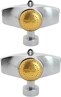 SYOOY 2 件装金属点洒水器,小型洒水器,360 度方形圆形图案温和水草洒水器,适用于中小区域庭院草坪花园浇水