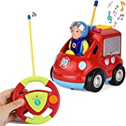 Liberty 进口 My First RC 卡通车载双通道遥控玩具——音乐、灯光和声音,适合宝宝、幼儿、儿童 消防车 红色