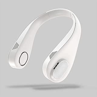 Dursilre 便携式颈扇可充电免提无刀片个人迷你 USB 风扇耳机设计 3 档速度可调节,非常适合运动办公室和户外白色