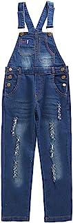 7-12 岁小女孩连体裤,腰带,弹性彩色蕾丝口袋牛仔连体裤,1 件连体裤