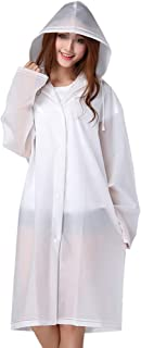 NARAMAX 1 件装 EVA 雨衣 成人透明磨砂加厚可重复使用雨衣 带兜帽和袖子(透明)