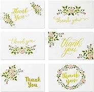 Thank You Cards - 48 张感谢您的贺卡,批量 Thank You Notes for Weding,迎婴派对,6 个优雅玫瑰花设计带金色箔印花,白色信封,10.16 x 15.24 cm