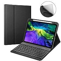 "Fintie 平板电脑保护套适用于 iPad Pro 11"" 2020/2018 [支持*二代铅笔充电] - 柔软 TPU 后盖带笔架,磁性可拆卸无线蓝牙键盘"