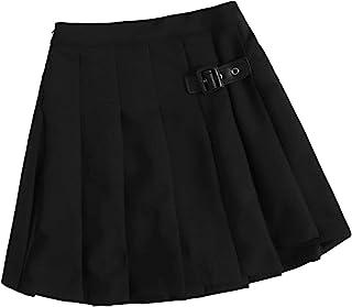 Floerns 女孩休闲百褶滑板车裙带扣校服迷你裙