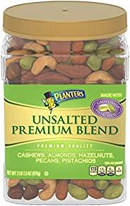 PLANTERS 紳士 優質混合堅果,無鹽,全堅果,34.5盎司(978克),容器可重新密封,開心果,腰果,杏仁,榛子和山核桃無鹽小吃,猶太潔食