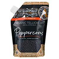 SaltWorks Malabold Tellicherry Organic Black Peppercorns for Grinder, Pour Spout Pouch, 8 Ounce