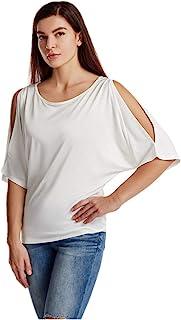 女式蝙蝠袖闪光弹性亮片女衬衫闪耀魅力背心 T 恤