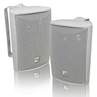 Dual Electronics LU43PW 三聲道高性能室內外揚聲器 強大低音|輕松安裝旋轉支架|全天候|擴大立體聲覆蓋|出售成對,白色