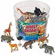 Learning Resources 叢林動物,教育計數和分類玩具,塑料動物雕像,60件,適合5歲以上的兒童,多色,