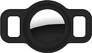 Coholl 保护套兼容 Airtag GPS 追踪器,狗项圈宠物环扣保护套适用于空气标签硅胶外壳轻质柔软防丢失(黑色)
