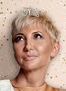 Alandra 生日 TIARA-50 50 岁生日玫瑰金金属礼品盒皇冠,奶油色和玫瑰银色,均码