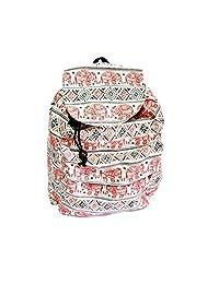 Pooltana 帆布包大象红色背包抽绳手提包前拉链多功能肩装男女士女孩旅行运动健身房街球上班学校户外