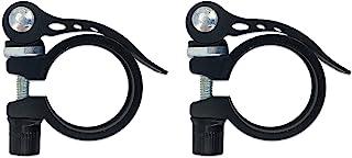 FasHuby 2 件装 34.9 毫米自行车座柱夹 铝合金自行车快速释放座杆夹 适用于山地自行车,黑色