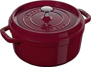STAUB 珐宝 40502-294-0 圆形带盖砂锅,锅内侧为哑光黑色搪瓷,24厘米,3.8升,红色
