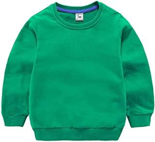 DQCUTE 男孩圆领运动衫女孩运动长袖棉质儿童幼儿纯色套头上衣(1-8 岁) * 2T