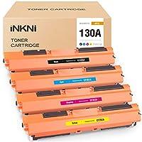 INKNI 兼容硒鼓替換件適用于 HP 130A CF350A CF351A CF352A CF353A 適用于彩色激光打印機 Pro MFP M176n M177fw 打印機(黑色青色品紅黃色,4 件裝)