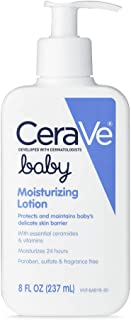 CeraVe 婴儿乳液  含玻尿酸的温和婴儿护肤品  不含对羟基苯甲酸酯和香料  包装可能会有所不同  8盎司/237毫升
