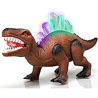 STEAM Life 行走恐龙玩具| 机器人恐龙玩具散步,嘴巴移动,咆哮和发光 棕色