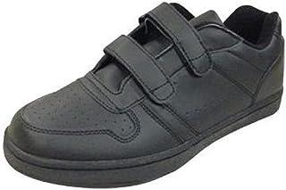 Benefit Wear Mens Womens Leather Sneaker Shoe with Hook & Loop Closure-Wide Width