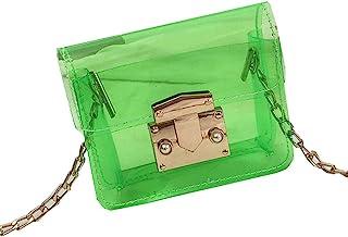 LINGFOO 小女孩的礼物,迷你儿童钱包婴儿透明手袋幼儿女孩小斜挎包夏季透明果冻钱包(*)