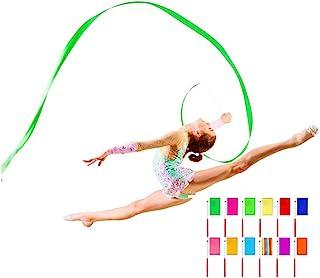 Bamboopack 12 件舞蹈丝带飘带节奏体操丝带 舞蹈丝带 魔杖 艺术旋转 丝带杆 用于艺术舞蹈表演和游戏