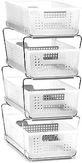 madesmart 可堆叠双层收纳箱,带分隔器和额外一套钢腿,大号,霜白色/灰色