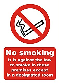 Seco No Smoking - It Is Against The Law To Smoke In These Premises 除了*房间标牌,A5(148mm x 210mm) - 1mm 半硬质塑料