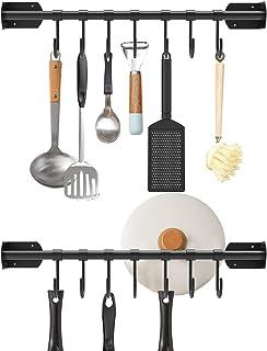 16 英寸(约 40.6 厘米)锅架挂钩,2 个厨房壁挂式锅和平底架不锈钢勺盖餐具收纳架毛巾衣架,带 14 个 S 可拆卸挂钩,黑色