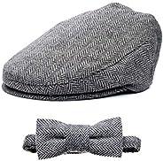 Born to Love 平帽 男孩 Tweed Page 男孩 Newsboy 儿童司机帽 SM,灰色和黑色套装