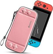 Tomtoc Nintendo Switch 便携包,超薄硬壳,带 10 个游戏盒,旅行保护手提包,便携式包,原装*和*级保护,珊瑚色